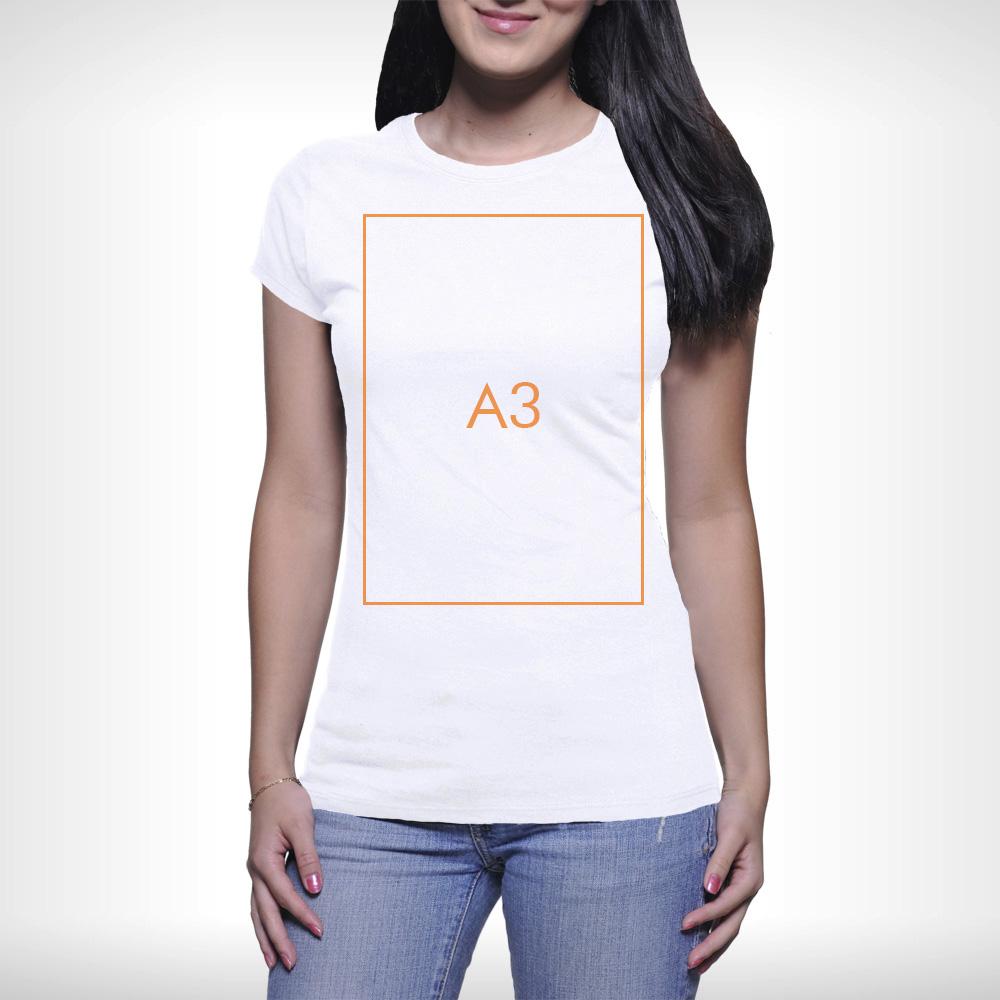 Női póló - A3 nyomtatás - 1 oldalon